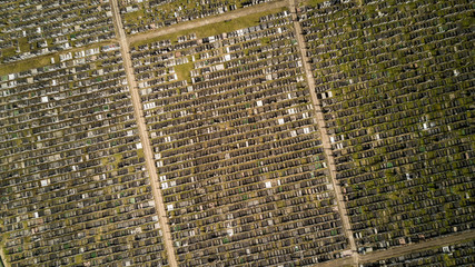 Gravestones and cemetery Aerial view
