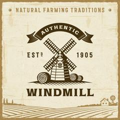 Vintage Authentic Windmill Label. Editable EPS10 vector illustration in retro woodcut style with clipping mask and transparency.
