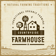 Vintage Countryside Farmhouse Label. Editable EPS10 vector illustration in retro woodcut style with clipping mask and transparency.