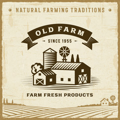 Vintage Old Farm Label. Editable EPS10 vector illustration in retro woodcut style with clipping mask and transparency.