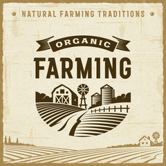 Vintage Organic Farming Label. Editable EPS10 vector illustration in retro woodcut style with clipping mask and transparency.
