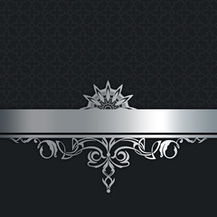 Vintage background with silver border.