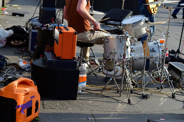 Boy playing street music