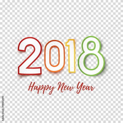 Happy New Year 2018 greeting card template.\