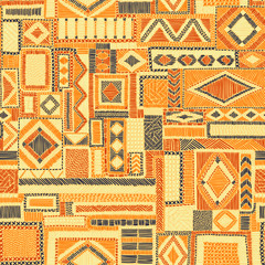 Embroidered seamless patchwork pattern. Bohemian ornament. Ethnic and tribal motifs. Orange print for textiles.