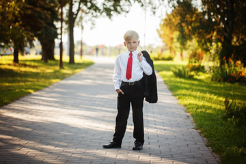 Little boy wearing business suit and red tie on nature background