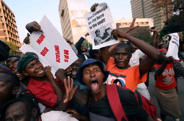 Zimbabweans celebrate after Mugabe resigns in Harare