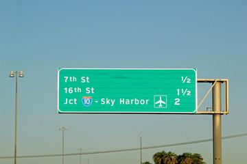 Phoenix Sky Harbor International Airport Highway Road Sign