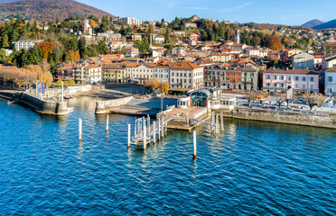 Foto auf Acrylglas Stadt am Wasser Aerial view of Luino, is a small town on the shore of Lake Maggiore in province of Varese, Italy.