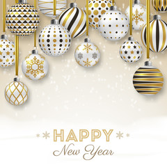 New Year background with colorful ornate balls. Merry Christmas card vector Illustration