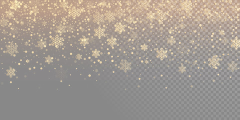 Falling snow flake golden pattern background. Gold snowfall overlay texture isolated on transparent white background. Winter Xmas snowflake elementsfor Christmas of New Year holiday design template Wall mural