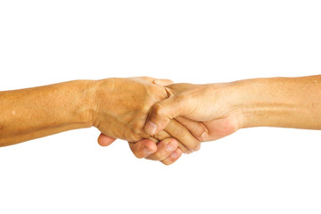 Hand shake and holding on white isolate background. Hand of old man and old woman. Concept of partner of life.