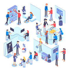 People work in a team and achieve the goal. Business processes and office situations. Isometric illustration.