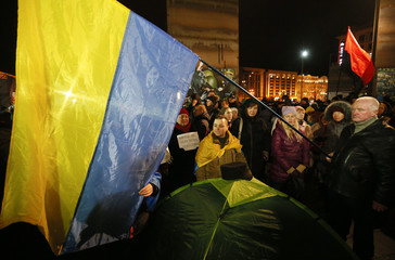 Activists of nationalist groups and their supporters hold a rally on the Day of Dignity and Freedom in Kiev