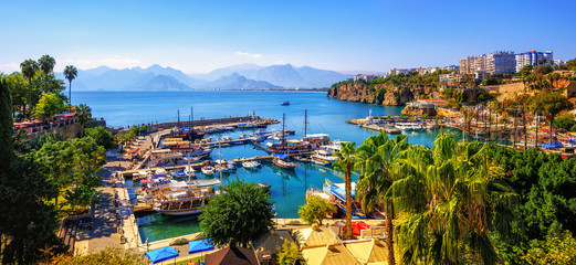 Panorama of the Antalya Old Town port, Turkey