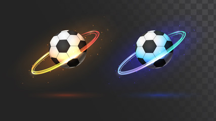 Soccer ball with the ring of fire