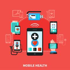 Digital Health Gadgets Flat Poster