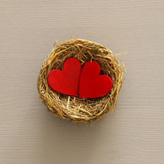 Valentines day background with bird nest and couple of red hearts. Top view.