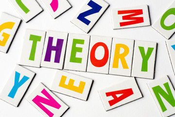 word theory  made of colorful letters