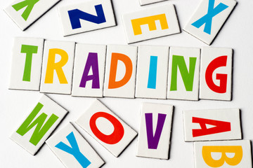 word trading  made of colorful letters