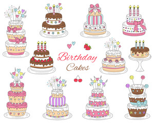 Birthday cakes set, vector hand drawn colorful doodle illustration.