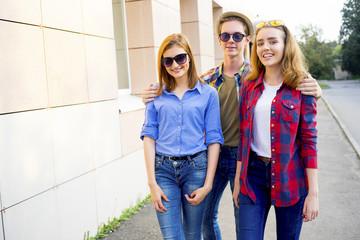 Teenagers walking outside