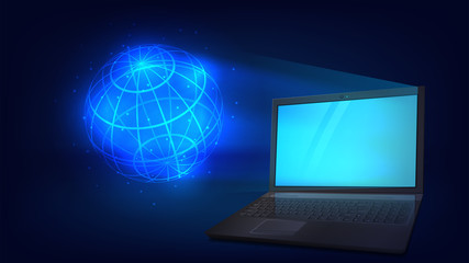 Vector illustration with a laptop and a hologram sphere