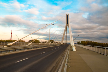 Highway going through a cable-stayed bridge