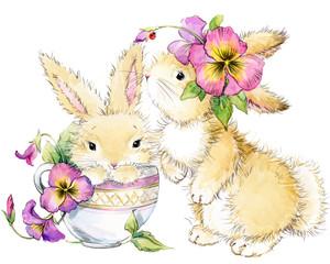 hand-drawn watercolor illustration of Cute cartoon bunny