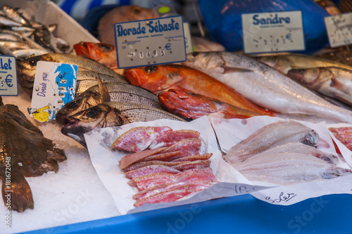 PARIS, FRANCE, on October 27, 2017  Fresh seafood and fish are laid