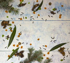 New Year's banner with hazelnuts and cinnamon