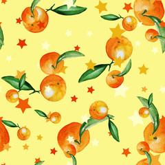 mandarin fruit watercolor seamless pattern