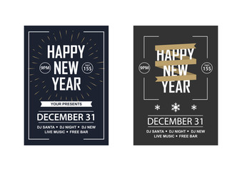 Two New Year invitations to a club party.