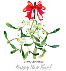 Christmas mistletoe watercolor illustration