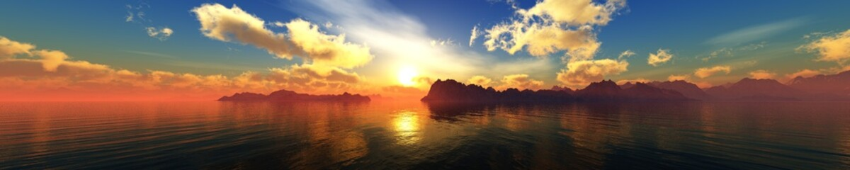 panorama of the sunset over the sea, beautiful ocean sunset, banner