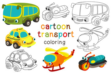 set of isolated cartoon transport with eyes part 3  - vector illustration, eps