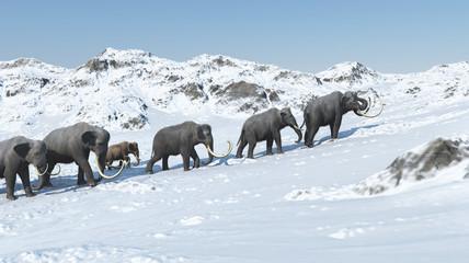 Mammoth group 3d render