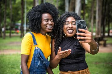 Afro women decent taking selfie photos in the park