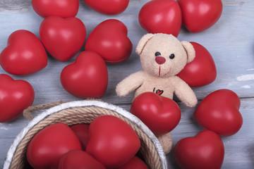 Red Hearts Teddy Bear Wooden Bucket