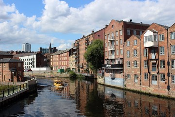 Historic warehouses beside the River Aire, Leeds.