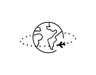 Plane travel around the world - isolated vector illustration