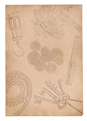 Old paper background with drawings of adventure items isolated on white