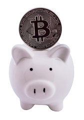 Bitcoin coin and a piggy bank,  isolated on white