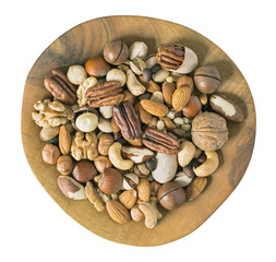 Plate of various fresh nuts top view isolated