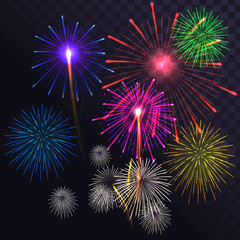 Vector set of fireworks