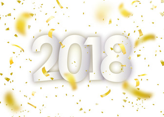 2018 happy new year. Gold confetti, tiny paper pieces on light white background