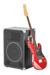 Electric guitar with concert loudspeaker, 3D rendering