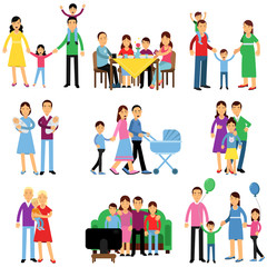 Parents and their kids in different situations set, happy family concept vector Illustrations