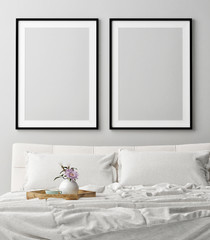Mock up posters in romantic bedroom, dream, 3d illustration, 3d render