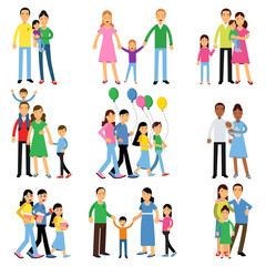 Parents and their kids set, happy family concept vector Illustrations